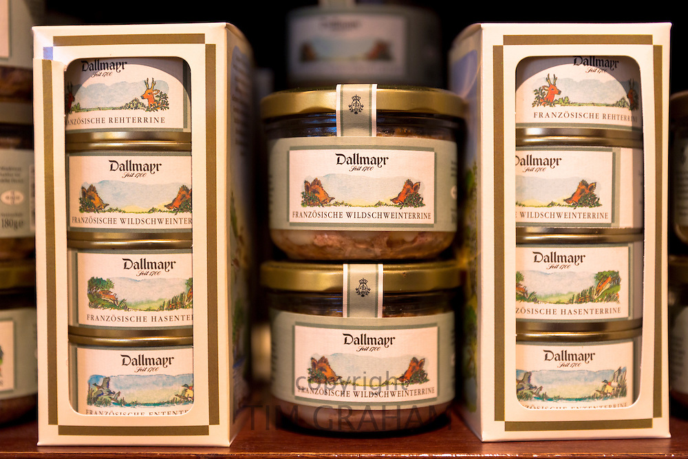 Franzosische meat terrine, wild boar, venison and hare on display in famous Dallmayr food store in Munich, Bavaria, Germany