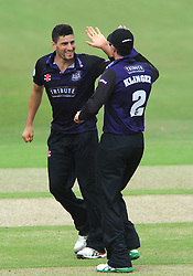 Benny Howell of Gloucestershire celebrates with Michael Klinger of Gloucestershire after Adam Wheater of Hampshire is out for LBW   - Photo mandatory by-line: Dougie Allward/JMP - Mobile: 07966 386802 - 14/07/2015 - SPORT - Cricket - Cheltenham - Cheltenham College - Natwest T20 Blast