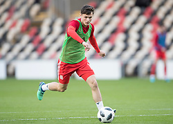 NEWPORT, WALES - Tuesday, October 16, 2018: Wales' Liam Cullen warms up ahead of the UEFA Under-21 Championship Italy 2019 Qualifying Group B match between Wales and Switzerland at Rodney Parade. (Pic by Laura Malkin/Propaganda)