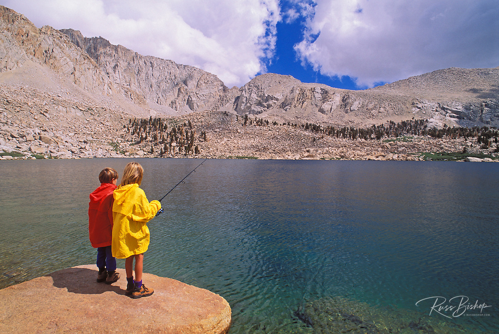 Kids fishing at Cottonwood Lake, John Muir Wilderness, Sierra Nevada Mountains, California