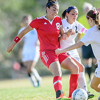 Valencia Jaguar Camila Orozco (8), left, and Grants Pirate Phoebe Rychener (2) tussle at Grants High School Thursday.