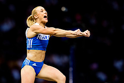 August 9, 2018 - Berlin, GERMANY - 180809 Nikoleta Kyriakopoulou of Greece celebrates in the women's pole vault final during the European Athletics Championships on August 9, 2018 in Berlin..Photo: Vegard Wivestad GrÂ¿tt / BILDBYRN / kod VG / 170199 (Credit Image: © Vegard Wivestad Gr¯Tt/Bildbyran via ZUMA Press)
