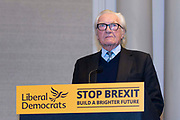 Former Conservative MP Lord Michael Heseltine, attends a Liberal Democrats press conference in London, United Kingdom on 27th November, 2019. Brexit and the up coming general election was discussed.