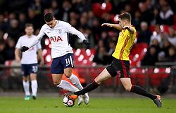 Tottenham Hotspur's Erik Lamela (left) and Watford's Craig Cathcart battle for the ball
