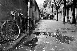 Old hutong in the rain in Beijing China