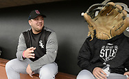 GLENDALE, ARIZONA - FEBRUARY 23:  Jake Burger #91 of the Chicago White Sox looks on prior to the game against the Los Angeles Dodgers on February 23, 2018 at Camelback Ranch in Glendale Arizona.  (Photo by Ron Vesely)  Subject:   Jake Burger