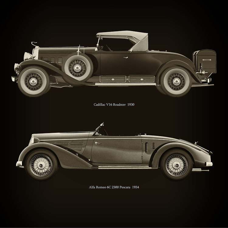 For the lover of old classic cars, this combination of a Cadillac V16 Roadster 1930 and Alfa Romeo 6C 2300 Pescara 1934 is truly a beautiful work to have in your home.<br /> The classic Cadillac V16 Roadster 1930  and the beautiful Alfa Romeo 6C 2300 Pescara 1934 are among the most beautiful cars ever built.<br /> You can have this work printed in various materials and without loss of quality in all formats.<br /> For the oldtimer enthusiast, the series by the artist Jan Keteleer is a dream come true. The artist has made a fine selection of the very finest cars which he has meticulously painted down to the smallest detail. –<br /> -<br /> <br /> BUY THIS PRINT AT<br /> <br /> FINE ART AMERICA<br /> ENGLISH<br /> https://janke.pixels.com/featured/cadillac-v16-roadster-1930-and-alfa-romeo-6c-2300-pescara-1934-jan-keteleer.html<br /> <br /> WADM / OH MY PRINTS<br /> DUTCH / FRENCH / GERMAN<br /> https://www.werkaandemuur.nl/nl/shopwerk/Cadillac-V16-Roadster-1930-en-Alfa-Romeo-6C-2300-Pescara-1934/753890/132?mediumId=1&size=60x60<br /> <br /> –