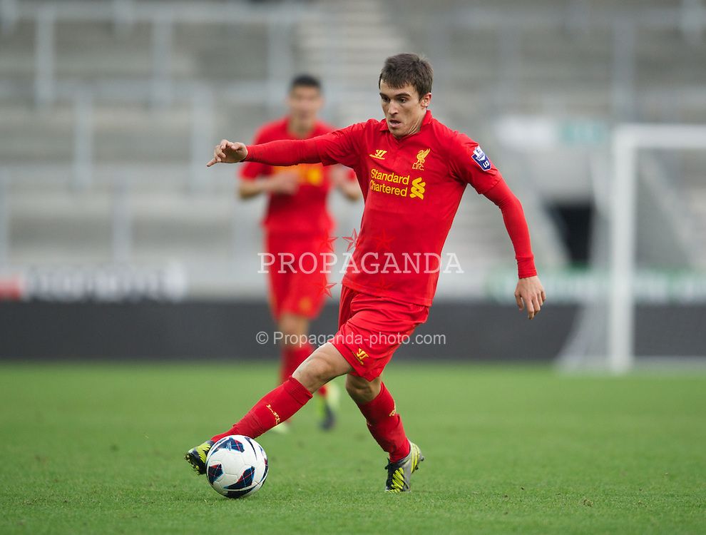 ST HELENS, ENGLAND - Sunday, November 18, 2012: Liverpool's Adam Morgan in action against Chelsea during the Under 21 FA Premier League match at Langtree Park. (Pic by David Rawcliffe/Propaganda)