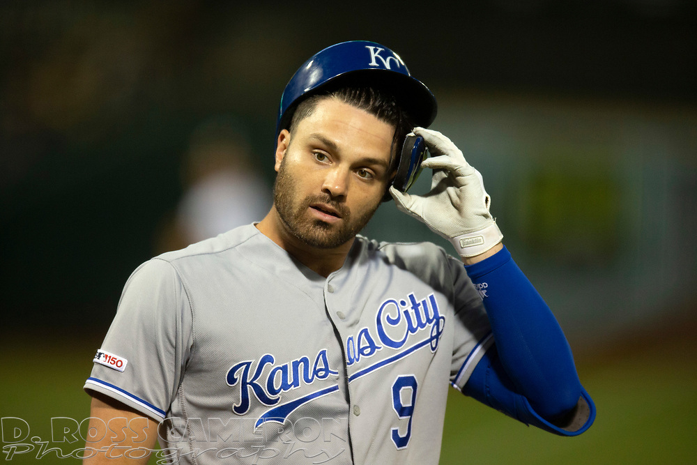 Sep 17, 2019; Oakland, CA, USA; Kansas City Royals Ryan McBroom (9) walks back to the dugout after striking out to end the top of the second inning of a baseball game against the Oakland Athletics at Oakland Coliseum. Mandatory Credit: D. Ross Cameron-USA TODAY Sports