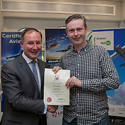 24.05.2018.       <br /> The Limerick Institute of Technology with Atlantic Air Adventures and funding from the Aviation Skillnet presented over forty certificates to Aviation professionals who have completed the Certificate in Aviation, The Aircraft Records Technician Level 7 and Part 21 Design, Level 7.<br /> <br /> Pictured at the event was Jim Gavin, The Irish Aviation Authority and Manager of the Dublin Football Team who presented, Declan Heffernan with their cert.<br /> <br /> LIT in partnership with Atlantic Air Adventures, CAE Parc Aviation, Part 21 Design and industry experts such as Anton Tams, GECAS, Don Salmon, CAE Parc Aviation and Mick Malone, Part 21 Design have developed and deliver these key training programmes with funding for aviation companies provided by The Aviation Skillnet.<br /> <br /> . Picture: Alan Place