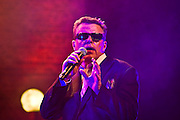 Suggs of Madness, singing at the Hackney Empire in London on the launch of their new album 'Liberty of Norton Folgate'.