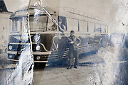 torn with tape repaired photo of men with public transportation bus 1950s France