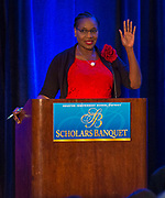 Houston ISD Trustee Wanda Adams comments during the Scholars Banquet at the Westin Galleria, April 11, 2017.