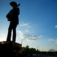 A statue of local son and Country music legend Hank Williams by the Montgomery Riverfront.