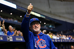 September 19, 2017 - St. Petersburg, Florida, U.S. - WILL VRAGOVIC   |   Times.Chicago Cubs manager Joe Maddon (70) gives a thumbs up to the crowd after the video tribute played on the scoreboard in the second inning of the game between the Chicago Cubs and the Tampa Bay Rays at Tropicana Field in St. Petersburg, Fla. on Tuesday, Sept. 19, 2017. (Credit Image: © Will Vragovic/Tampa Bay Times via ZUMA Wire)