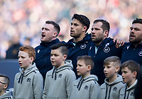 Rugby Union - 2020 Guinness Six Nations Championship - Scotland vs. France<br /> <br /> The Scotland team sing the national anthem, at Murrayfield