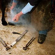 Farrier John Kent shoes a horse at Warren Farm, Exmoor, Somerset, UK