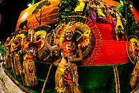 Floats in the Carnaval parade of Unidos de Bangu samba school in the Sambadrome, Rio de Janeiro, Brazil.
