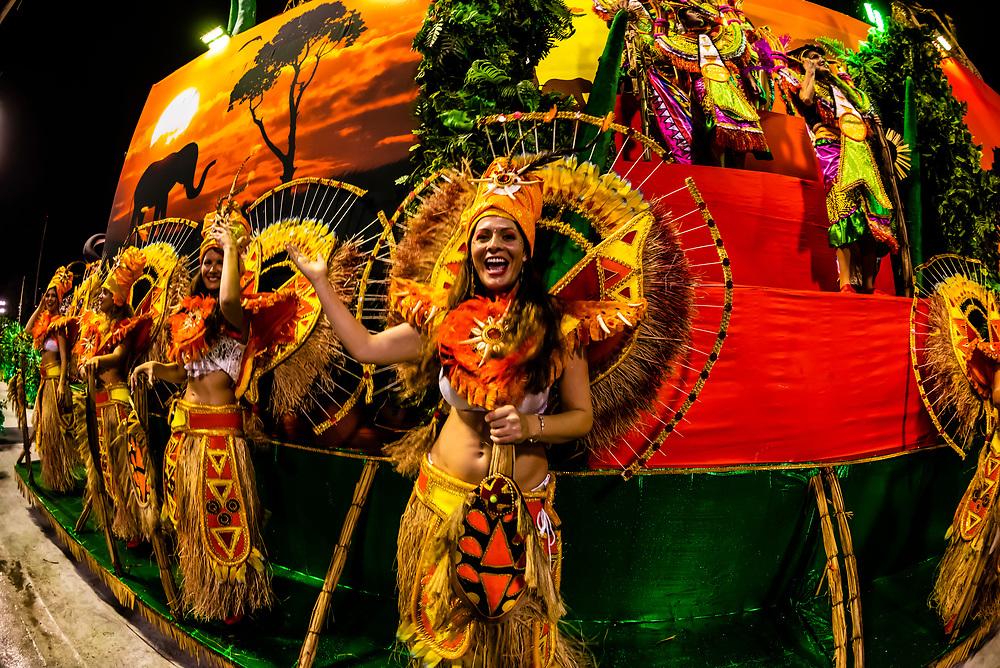 Floats in the Carnaval parade of Unidos de Bangu samba school in the Sambadrome, Rio de Janeiro, Brazil.