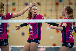 Dagmar Boom, Evie Van Kerkvoorde of Eurosped in action during the league match Talentteam Papendal vs.  Eurosped on January 23, 2021 in Ede.
