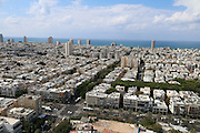 Aerial Photography of Tel Aviv, Israel looking from east towards the Mediterranean Sea in the west