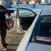 Lucinda Kinnan (cq), caregiver with Home Instead, arrives at a client's home in the Point Place neighborhood of Toledo on Wednesday, Feb. 3, 2021. THE BLADE/KURT STEISS
