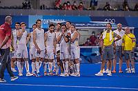 TOKIO - Spanning is terug omdat er een shoot out misschien moet worden overgenomen  tijdens de hockey finale mannen, Australie-Belgie (1-1), België wint shoot outs en is Olympisch Kampioen,  in het Oi HockeyStadion,   tijdens de Olympische Spelen van Tokio 2020. COPYRIGHT KOEN SUYK