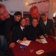 Boekpresentatie Henny Huisman AZ Stadion, Gerard Joling, Jan vriend, Jacques d'Ancona