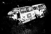 """abandoned trucks.<br /> The shadow line is a trip, a trip losing myself, looking for myself.<br /> Like the romance """"the shadow line"""" by Joseph Conrad (1917).<br /> I was in Italy, England, Bosnia, Montenegro, Serbia..<br /> It isn't a reportage, it isn't a story.<br /> It is a searching.."""