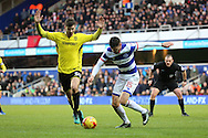 Burton Albion midfielder Luke Murphy (30) battles for possesion with Queens Park Rangers midfielder Pawel Wszolek (15) during the EFL Sky Bet Championship match between Queens Park Rangers and Burton Albion at the Loftus Road Stadium, London, England on 28 January 2017. Photo by Matthew Redman.