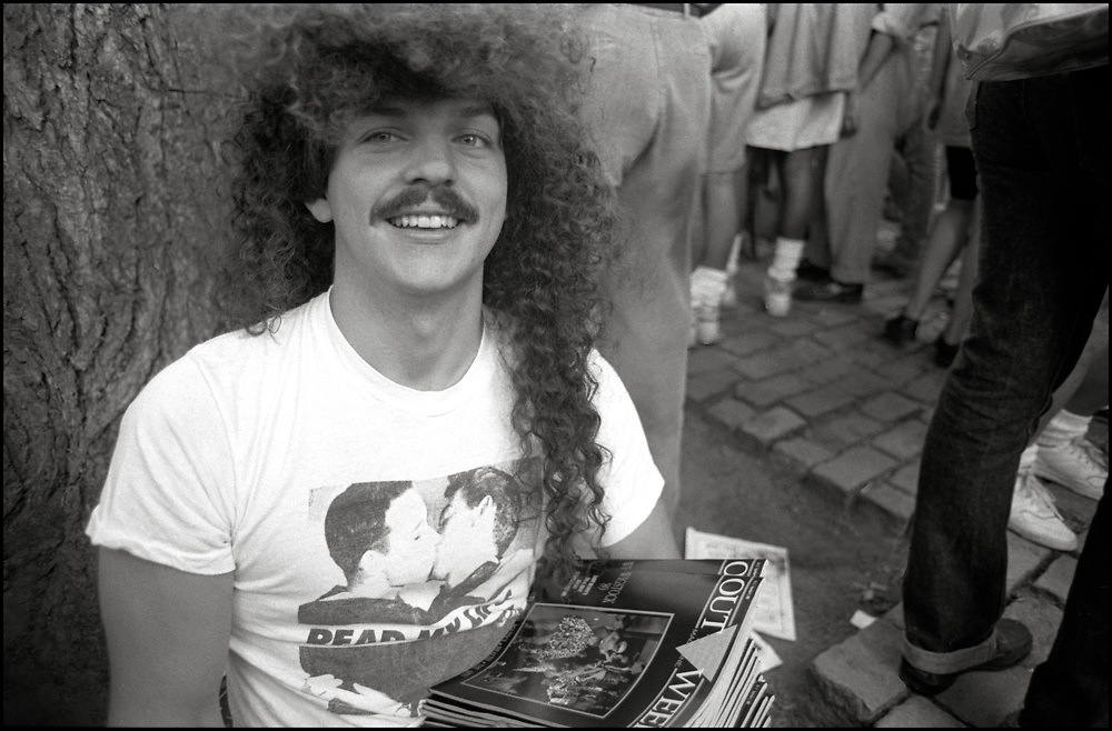 Kendall Morrison of Outweek Magazine at Wigstock, an annual outdoor drag festival that began in the 1980s in Tompkins Square Park in the East Village of New York City that took place on Labor Day in 1989.