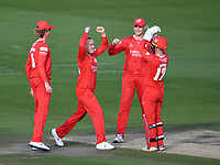 Cricket - 2020 T20 Vitality Blast - Quarter-final - Sussex Sharks vs Lancashire Lightning - County Ground, Hove<br /> <br /> Alex Davies of Lancashire Lightning (17) celebrates with Matt Parkinson after stumping Ollie Robinson of Sussex Sharks.<br /> <br /> COLORSPORT/ASHLEY WESTERN
