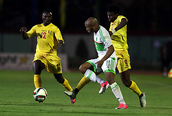 June 6, 2017 - Blida, Algiers, Algeria - Bangoura Alkhaly (L) of Guinea vies Brahimi Yassine (R) of Algeria  during their friendly international football match between Algeria and Guinée the Mustapha Tchaker stadium in Blida on June 06, 2017. (Credit Image: © Billal Bensalem/NurPhoto via ZUMA Press)