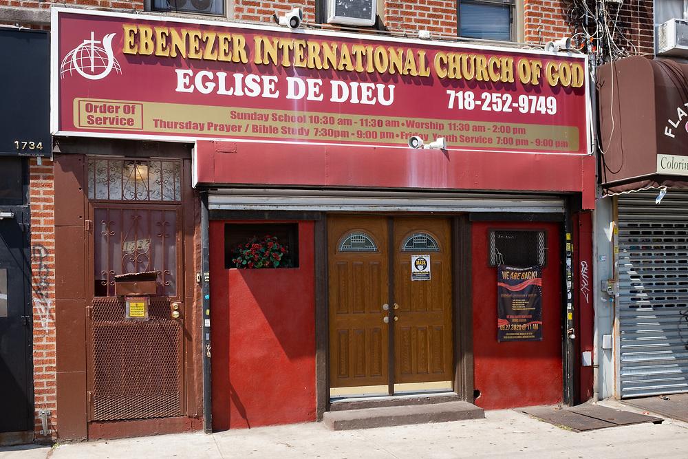 Ebenezer International Church of God, Eglise de Dieu, 1732 Flatbush Avenue, Brooklyn.