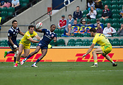 """Twickenham, Surrey United Kingdom. USA's Perry BAKER, on his run for the first try during the  USA vs Australia, Cup Quarter Final"""" at the 2017 HSBC London Rugby Sevens"""",  Sunday 21/05/2017 RFU. Twickenham Stadium, England    <br /> <br /> [Mandatory Credit Peter SPURRIER/Intersport Images]"""