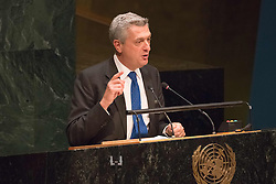 September 16, 2016 - New York, NY, United States - UN High Commissioner for Refugees Filippo Grandi addresses the General Assembly. Three days before the opening of the United Nations high-level Summit on Addressing Large Movements of Migrants and Refugees (September 19), Actor Ben Stiller and former refugee celebrities presented a petition from the #WithRefugees campaign to the UN.  On behalf of the UN, Secretary-General Ban Ki-moon and UN High Commissioner for Refugees Filippo Grandi participated in the event. (Credit Image: © Albin Lohr-Jones/Pacific Press via ZUMA Wire)