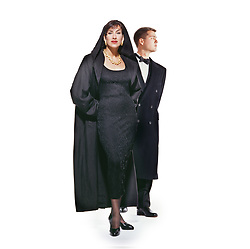 Woman and man in formal evening ware.