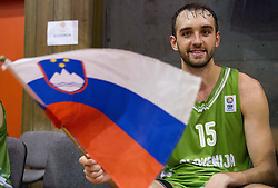 Mirza Begic of Slovenia with Slovenian flag after the friendly match between National teams of Slovenia and Republic of Macedonia for Eurobasket 2013 on July 28, 2013 in Litija, Slovenia. Slovenia defeated Macedonia 63-54. (Photo by Vid Ponikvar / Sportida.com)