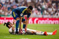 Real Madrid's player Gareth Bale and Celta de Vigo's player Gustavo Daniel Cabral during a match of La Liga Santander at Santiago Bernabeu Stadium in Madrid. August 27, Spain. 2016. (ALTERPHOTOS/BorjaB.Hojas)