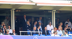 Gareth Southgate (left), Prince Edward (centre), Ed Sheeran, Matt Bellamy and Damian Lewis in the stands during the ICC Cricket World Cup group stage match at Lord's, London.