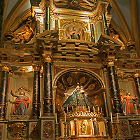 The ornate interior of the Cathedral Church of Lima, Peru includes dazzling artwork and sculpture.