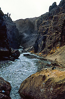 Iceland. Drekagil, the Canyon of Dragons In the Dyngjufjoll mountains.