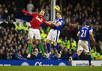 Swansea City's Michu and Everton's Phil Jagielka .- CREDIT - CameraSport - Stephen White..Football - Barclays Premiership - Everton v Swansea City - Saturday 12th January 2013 - Goodison Park - Liverpool..