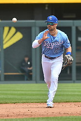 April 29, 2018 - Kansas City, Missouri, U.S. - KANSAS Kansas City, MO - APRIL 29:  Kansas City Royals second baseman Whit Merrifield (15) tosses to second base for a force out during a MLB game between the Chicago White Sox and the Kansas City Royals on April 29, 2018, at Kauffman Stadium, Kansas City, MO.  Kansas City won, 5-4. (Photo by Keith Gillett/Icon Sportswire) (Credit Image: © Keith Gillett/Icon SMI via ZUMA Press)