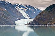 Distant view of Barry Glacier, a tidewater glacier in Barry Arm, Harriman Fjord, Prince William Sound near Whittier, Alaska.