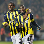 Fenerbahce's Mamadou NIANG (R) celebrate his goal with Joseph Michael YOBO (L) during their Turkish superleague soccer derby match Fenerbahce between Trabzonspor at the Sukru Saracaoglu stadium in Istanbul Turkey on Sunday 30 January 2011. Photo by TURKPIX