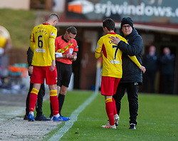 Partick Thistle's manager Ian McColl subs Partick Thistle's Joe Cardle after Dunfermline's first goal. Dunfermline 5 v 1 Partick Thistle, Scottish Championship game played 30/11/2019 at Dunfermline's home ground, East End Park.