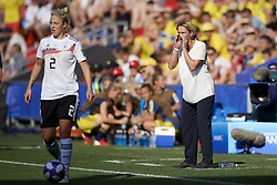 June 29, 2019 - Rennes, France - Martina Voss-Tecklenburg head coach of Germany gives instructions during the 2019 FIFA Women's World Cup France Quarter Final match between Germany and Sweden at Roazhon Park on June 29, 2019 in Rennes, France. (Credit Image: © Jose Breton/NurPhoto via ZUMA Press)