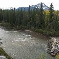 Kananaskis River in Kananaskis Provincial Park near Calgary, Alberta, Canada.  Rocky Mountains background
