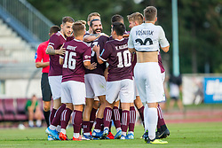 NK Triglav Kranj players celebrate during Football match between NK Triglav Kranj and NK Rudar Velenje in Round #3 of Prva liga Telekom Slovenije 2019/20, on July 27, 2019 in Sports park Kranj, Kranj, Slovenia. Photo by Ziga Zupan / Sportida